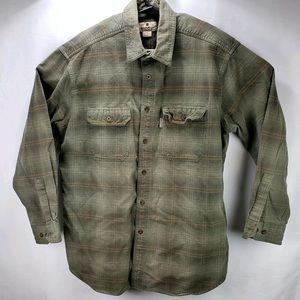 WOOLRICH LONG SLEEVE SHIRT OLIVE GREEN PLAID